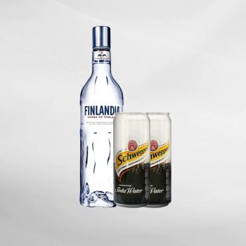 Promo Finlandia Vodka 750 Ml + 2 Pcs Schweppes Soda Water 330 Ml