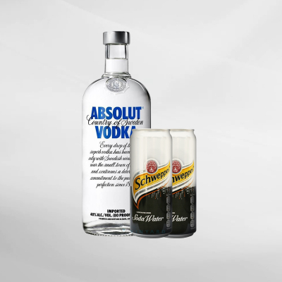 Promo Absolut Vodka 750 ml + 2 Pcs Schweppes Soda Water 330 ml