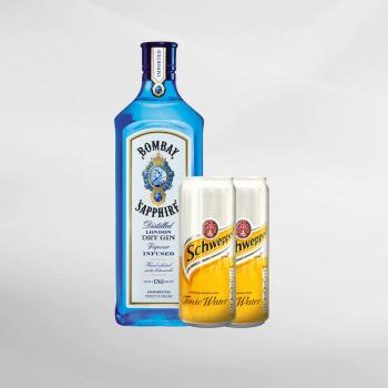 Promo Bombay Sapphire Gin 750 ml + 2 Pcs Schweppes Tonic Water 330 ml